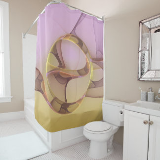 Abstract Motions Modern Pink Golden Fractal Art Shower Curtain