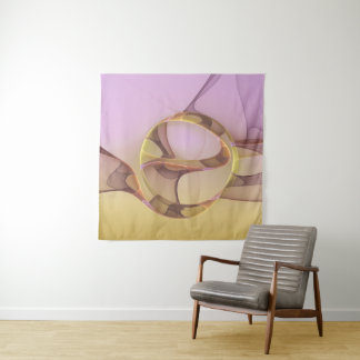 Abstract Motions Modern Pink Golden Fractal Art Tapestry