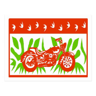Abstract Motorcycle Christmas Postcard
