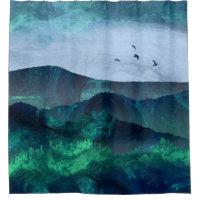 Abstract Mountain Landscape Digital Art Shower Curtain
