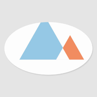 Abstract Mountains Oval Sticker