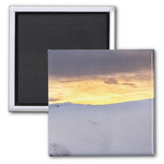 Abstract Mountains with Snow at Sunset Magnet