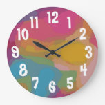 Abstract Multi Color Background Large Large Clock