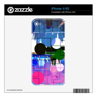 Abstract Multi Color Circle Pattern Design Skin For The iPhone 4S