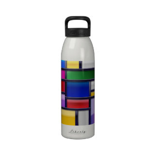 Abstract multi color glimmer effect art reusable water bottle