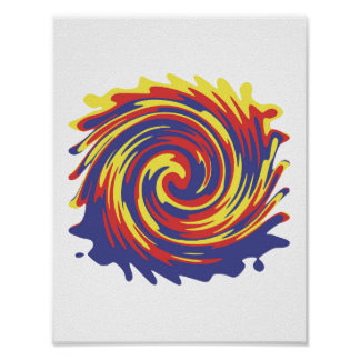 Abstract Multi Color Swirl Poster