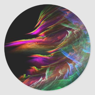 Abstract Multi Color Waves in Motion Classic Round Sticker