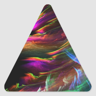 Abstract Multi Color Waves in Motion Triangle Sticker