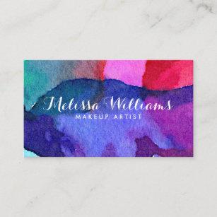 Multi colored business cards zazzle abstract multi colored watercolors makeup artist business card colourmoves
