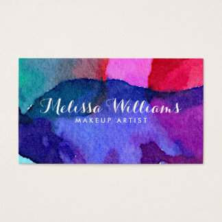 Abstract Multi-Colored Watercolors Makeup Artist Business Card