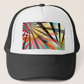 Abstract multi colour trucker hat