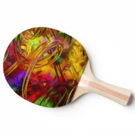 Abstract multicolor bamboo textures ping pong paddle
