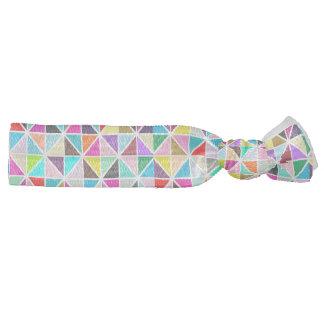 Abstract Multicolor kaleidoscope Diamond Pattern Ribbon Hair Ties