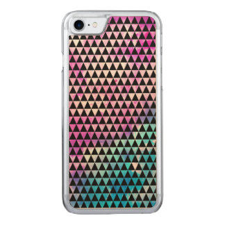 Abstract multicolor nebula triangles pattern carved iPhone 7 case