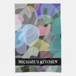 [ Thumbnail: Abstract Multicolored Blotch Pattern + Custom Name Kitchen Towel ]