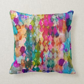 Abstract multicolored colorful argyle throw pillow