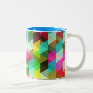 Abstract Multicolored Pattern Two-Tone Coffee Mug