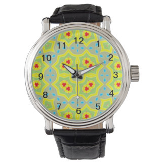 Abstract Multicolored Pattern Wristwatch