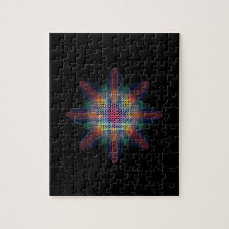 Abstract Multicolored Star on Solid Black Jigsaw Puzzle
