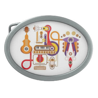 Abstract Music Belt Buckle! For Music LOVERS! Oval Belt Buckle