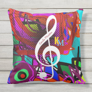 abstract music note personalized outdoor pillow