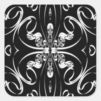 Abstract Musical Design - Black & White Square Sticker