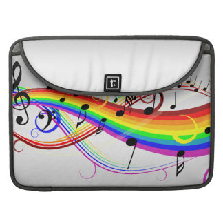 Abstract musical note's and rainbow colors. sleeve for MacBooks
