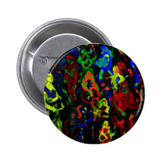 Abstract musician collage bright colours on black pinback button