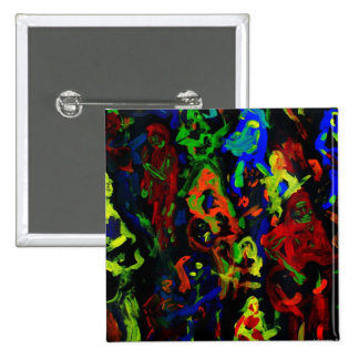 Abstract musician collage bright colours on black pin