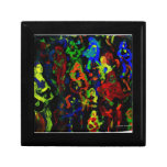 Abstract musician collage bright colours on black trinket box