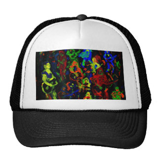 Abstract musician collage bright colours on black trucker hat