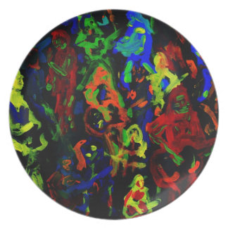 Abstract musician collage bright colours on black melamine plate