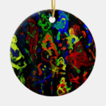 Abstract musician collage bright colours on black ornament