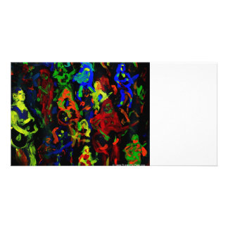 Abstract musician collage bright colours on black custom photo card