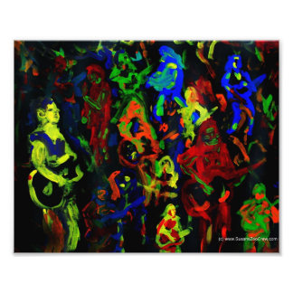 Abstract musician collage bright colours on black photo print