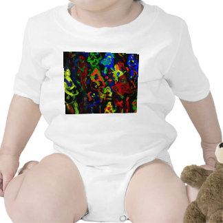 Abstract musician collage bright colours on black bodysuit