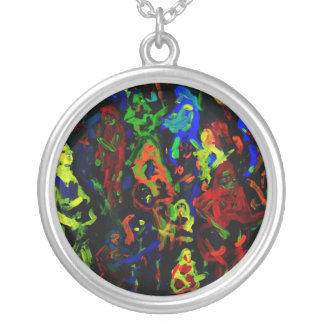 Abstract musician collage bright colours on black round pendant necklace