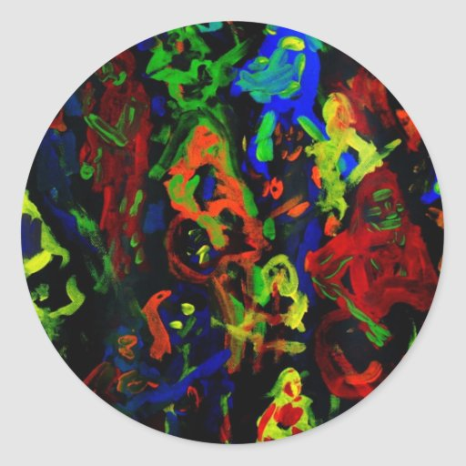 Abstract musician collage bright colours on black classic round sticker