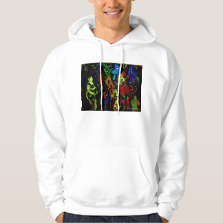 Abstract musician collage bright colours on black sweatshirt