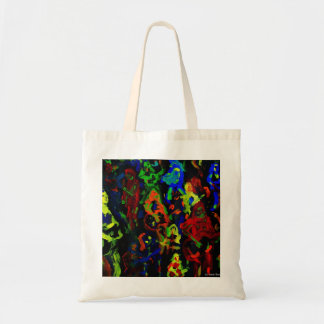 Abstract musician collage bright colours on black tote bag