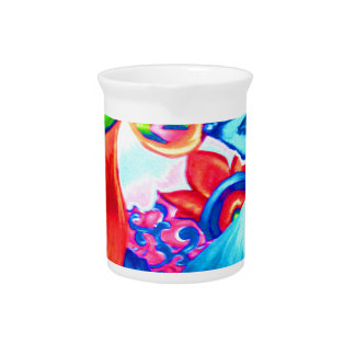 Abstract nature collage painting beverage pitcher