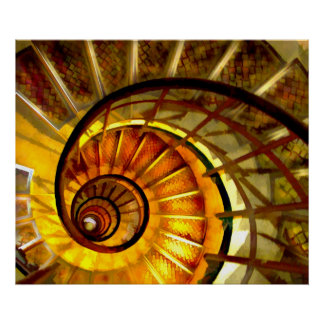 Abstract Nautilus Spiral Staircase Print