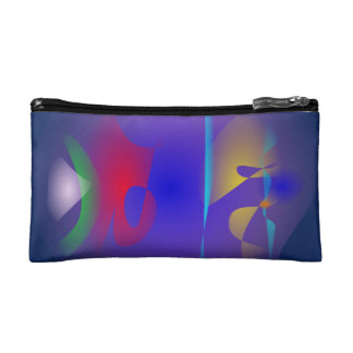 Abstract Navy and Purple Cosmetic Bag