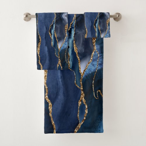 Abstract Navy Blue Agate Watercolor Bath Towel Set