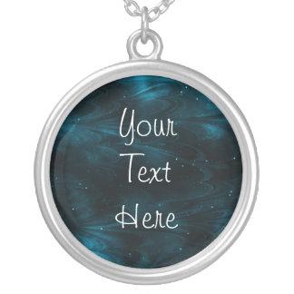 Abstract Nebula Texture - Blue Silver Plated Necklace