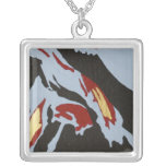 Abstract Necklace with Red, Gray, Black, Gold