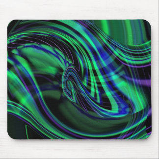 Abstract Neon Aqua N Blue Waves Mouse Pad