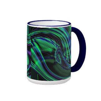 Abstract Neon Aqua N Blue Waves Ringer Mug