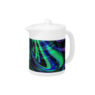 Abstract Neon Aqua N Blue Waves Teapot