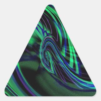 Abstract Neon Aqua N Blue Waves Triangle Sticker